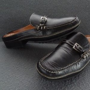 Cole Haan Country 8 B Black Leather Slide Slip-On